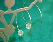 Sterling silver and Clear Quartz hoop earrings delicate hoop hammered Circle earrings infinity-Open hoop earrings