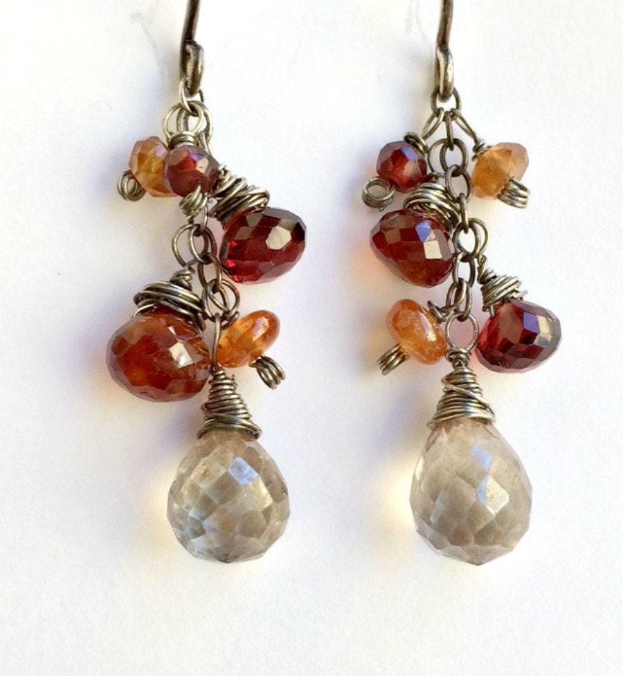wire wrapped garnet gemstone earrings oxidized by