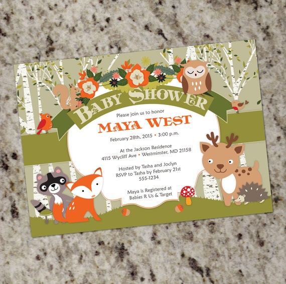Forest Animals Baby Shower Invitation Woodland Themed Baby Shower