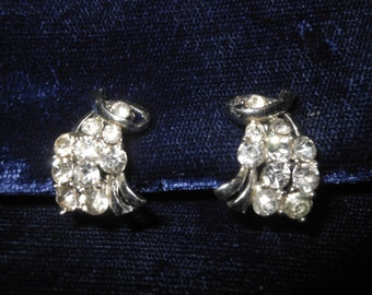 Vintage Clear Rhinestone Earrings Clip On