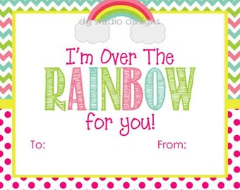 Valentine's Day Rainbow Tags, Rainbow Valentines Gift Tag, Chevron Gift Tag - Set of 12 Tags, 12 Stickers