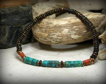 Bracelet for Men, Turquoise Bracelet, Mens Jewelry, Stretch Bracelet, Southwest Jewelry, Mens Bracelet, Stack Bracelet, Native American