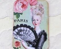 Marie Antoinette Tag, Paris tag, Gift tag,Party Bridal Shower, Birthday,Paris Vintage, Shabby French tag, Black Ballgown, Vintage Tea Party