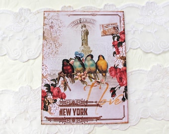 Blank New York Note Cards, Vintage Retro Note Cards ,  Birthday , Travel , Statue of Liberty, Crown Bird , Scrapbook Layout , Bridal Shower