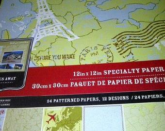 travel theme paper 12x12