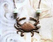 Wee Crabbie - Antiqued Copper Crab with Peruvian Blue Opals and Freshwater Pearl Handmade Necklace