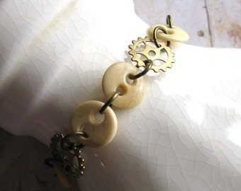Buttons and Gears - Antiqued Brass Gears and Vintage Bone Buttons Handmade Bracelet
