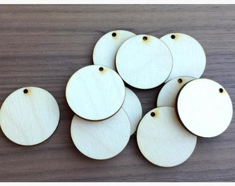 50 Pieces- Unfinished Wood Laser Cut Round Circle Pendant Blanks Disks .75 inch