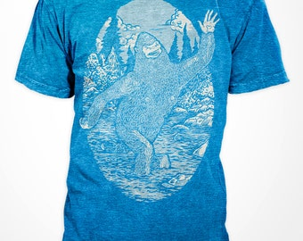 Happy Bigfoot - T-Shirt american apparel fifty fifty - S M L XL (heather lake blue)