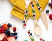 Fruit Salad - Set of 12 Wooden Utensils - Forks Spoons Knives available