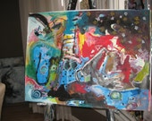 Star Landscape Abstract Painting/ blue red original seascape art acrylic oil pastel painting newfoundland art sjkim