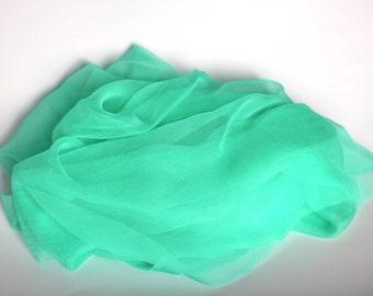 "Spearmint Green Silk Chiffon Gauze  - New Color - Photo prop, Infant wrap - Accessory - Wet Felting - 21"" x 84"""