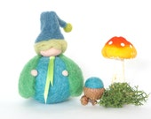 Waldorf Gnome Toy, Needle Felted Waldorf Doll, Blue and Green Woodland Nature Table Home Decor