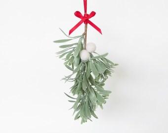 Mistletoe Christmas Decoration, Festive Holiday Ornament, Elegant, Kiss Under The Mistletoe, Felt