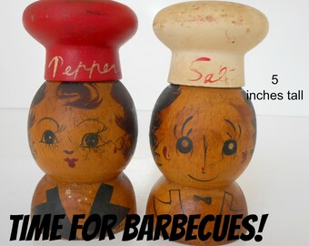 Vintage Wooden Salt and Pepper Shakers Man and Woman Chef Hats Large Wooden Shakers BBQ Shakers