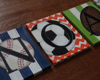 "8"" x 10"" Chevron Stripe Custom Personalized Name Wall Sports Baseball Soccer Football Canvas Art Boy Bedding Room Decor (price per letter)"