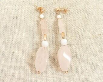 Vintage 14K Gold and Rose Quartz Dangling Earrings