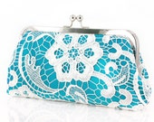 Turquoise Lace Clutch for Bridesmaids and flower girl   Something Blue Wedding Clutch