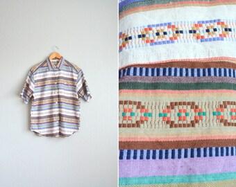 vintage '90s SOUTHWESTERN PATTERNED short sleeve OVERSIZED button-up shirt. size xl 1x 2x.
