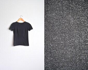 vintage '90s black GLITTERY METALLIC t-shirt. size xxs xs.