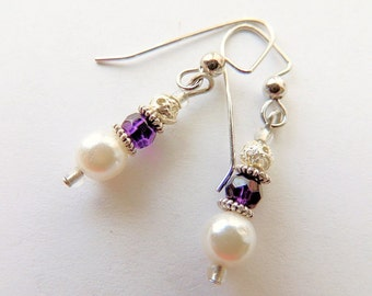 Pearl and Amethyst Crystal Earrings, Dangle Earrings, Purple and White, Purple and Silver, Handcrafted Jewelry, Pearl Earrings