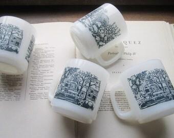 4 Vintage Glasbake Winter Mugs, Farm Scene, Hot beverage Mugs , Vintage Coffee Cups, Holiday Serve,