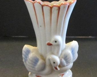 Fabulous Miniature Swan Planter Vintage Deco porcelain Japan