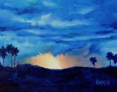 Sky Drama, Oil Painting on Canvas Panel, 6x8 Original Sunrise Landscape