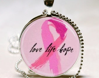 LOVE LIFE HOPE Breast Cancer Awareness Gift Altered Art Glass Pendant Charm Necklace