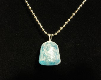 Blue Glitter Frosted Gum Drop Necklace
