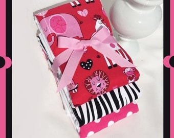 FULL SIZE 18 X 14.... Baby Girl Burp Cloth Set In Hot Pink, Black and White - 6 PLY Best Cloth Diaper Burps