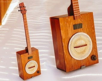 Wood Box Electric Guitar with Resonator