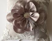 Silver Gray Ring Bearer Pillow With Handmade Flower and Rhinestones - Lara