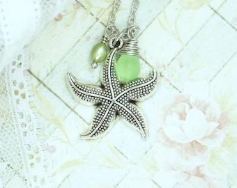 Starfish Pendant Necklace Nautical Jewelry Seaglass Necklace Starfish Jewelry Nautical Necklace Beach Jewelry
