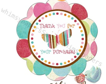 """Lots of Dots Butterfly """"Thank you for your purchase"""" stickers - 50 scalloped circle labels"""