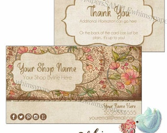 Boho Business Cards with free double sided print - FREE SHIPPING*