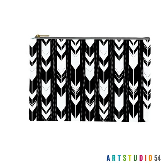 "Arrows on a Pouch, Make Up, Cosmetic Case Travel Bag Pencil Case - 9"" X 6"" -  Large -  Made by artstudio54"
