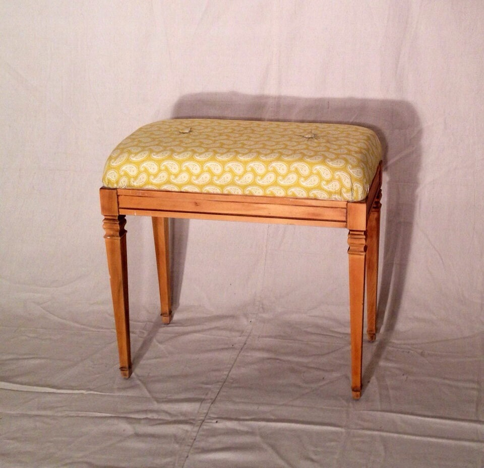 Yellow Paisely Upholstered Entryway Bench Tapered Legs And Storage Haute Juice