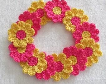 Crochet Flower Appliques - set of 12 bright flowers, handmade, craft supplies, embellishments