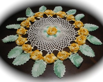 Doily Vintage 3- D Doily Rose  Floral Doilie Handmade  Crocheted Doily Exquisite Craft Supplies  Reduced