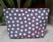 Monogrammed Cosmetic Zipper Pouch, Small Toiletry Bag with Gray & White Polka Dot Pattern, Custom Embroidered with your Initial, Gift Idea