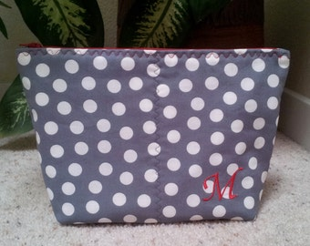 Monogrammed Cosmetic Zipper Pouch, White Polka Dot Zipper Pouch, Monogram, Gift for Her, Toiletry Storage, Zipper Pouch
