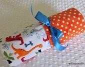 "25.00 SALE- Minky Baby Blanket - Dino Bone In White - Orange Swiss Polka Dot - Stroller Size 30"" x 30"""