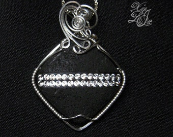 Swarovski Striped Lava Diamond Silver Pendant