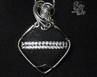 Swarovski Striped Lava Diamond Silver Pendant