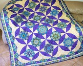 Twin Bed Quilt - Quilted Stack and Whack in Purple, Turquoise Blue, Paisley Peacock, Quilted Sofa Throw
