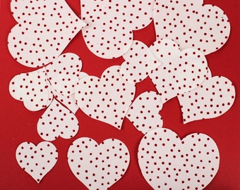 TWELVE Red and White HEARTS Applique Fabric Iron-ons, Small, Medium, and Large Fusible Applique Shapes