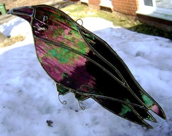 Crow Raven Stained Glass Birds Suncatchers Mothers Day Gothic Halloween Pagan Wicca Handmade in Canada Original Design©