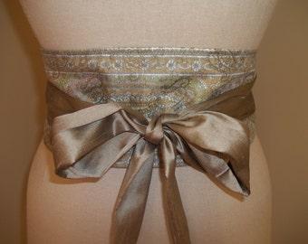 Obi Wrap Belt Pastel Paisley & Silk Dupioni Sash Tie Belt Corset Belt