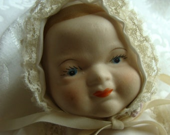 Vintage Hand Painted Bisque Porcelain Baby Doll